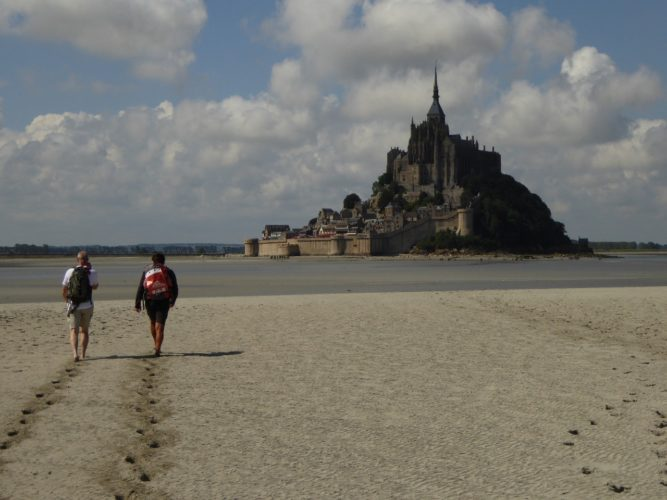 Footprints in the sand-Mont Saint-Michel